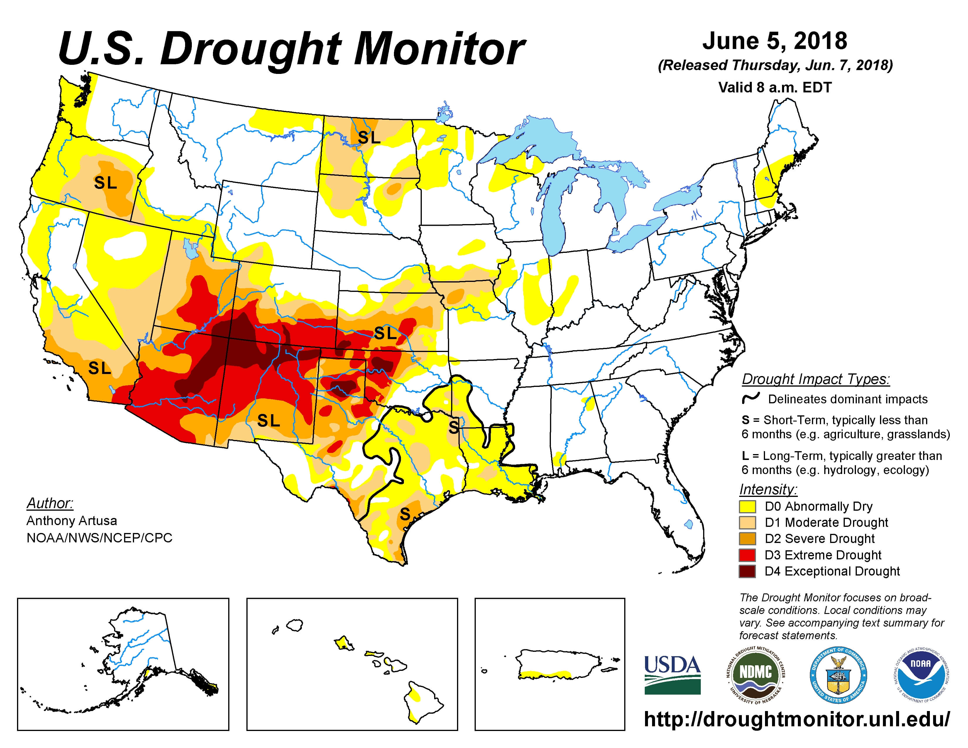 U.S. Drought Monitor map as of June 5, 2018