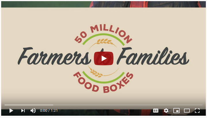 A screenshot of the Farmers to Families 50 Million Food Boxes video