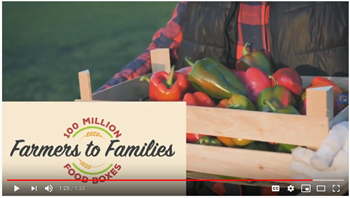A screenshot of the Farmers to Families 100 Million video