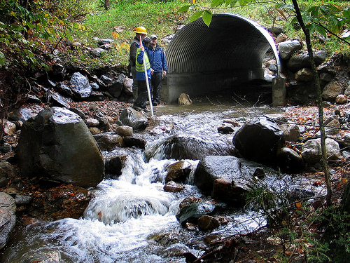 A newly constructed stream simulation culvert on the George Washington National Forest. (Photo by U.S. Forest Service.)