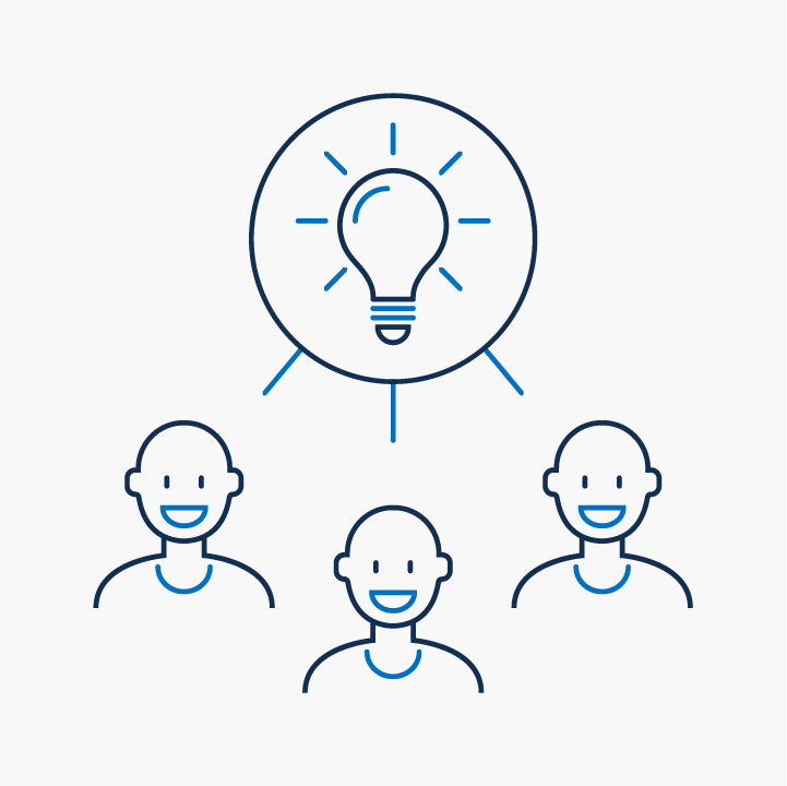 A lightbulb and a group of people icon