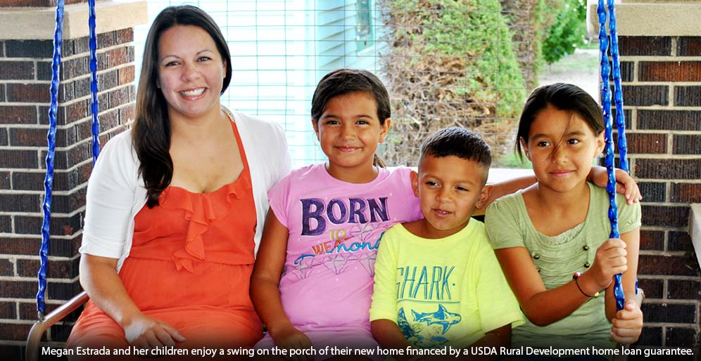 Megan Estrada and her three children are excited to spend time on their new home's porch