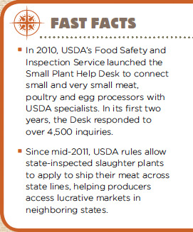 In 2010, USDA's Food Safety and Inspection Service launched the Small Plant Help Desk to connect small and very small meat, poultry and egg processors with USDA specialists. In its first two years, the Desk responded to over 4,500 inquiries.