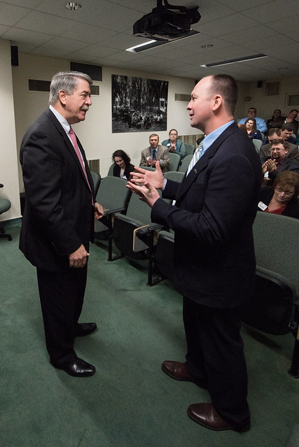 Under Secretary for Trade and Foreign Agricultural Affairs Ted McKinney talks with students of the Kansas Agriculture and Rural Leadership (KARL) program, on February 15, 2018