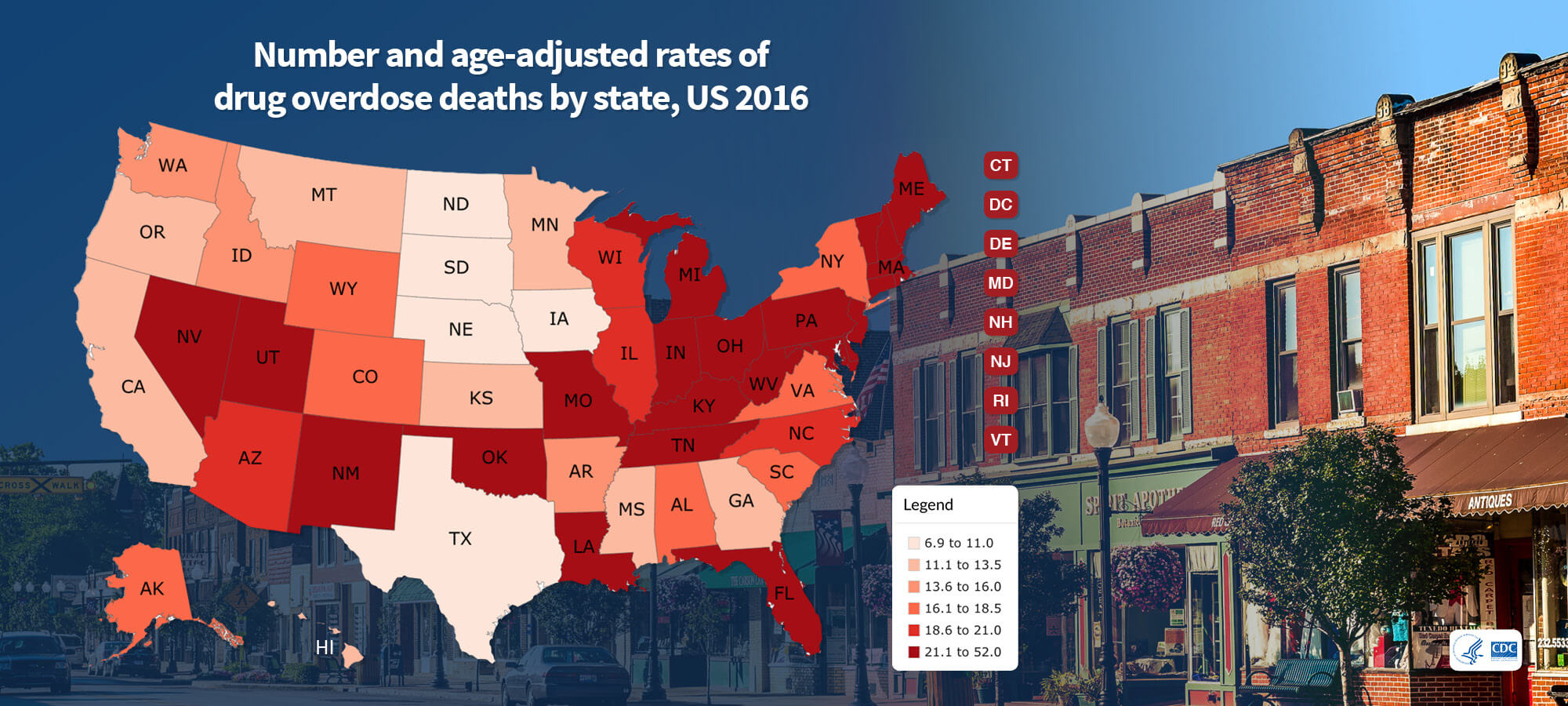 Number and age-adjusted rates of drug overdose deaths by state, US 2016