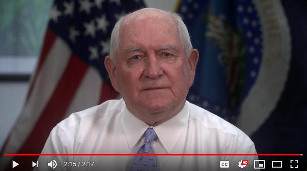 Secretary Perdue speaking in a video