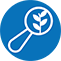 A magnifying glass with a plant icon