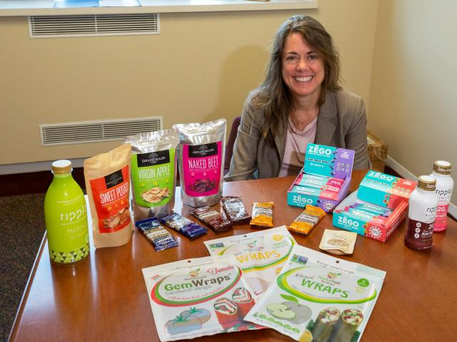 A woman with a variety of food products