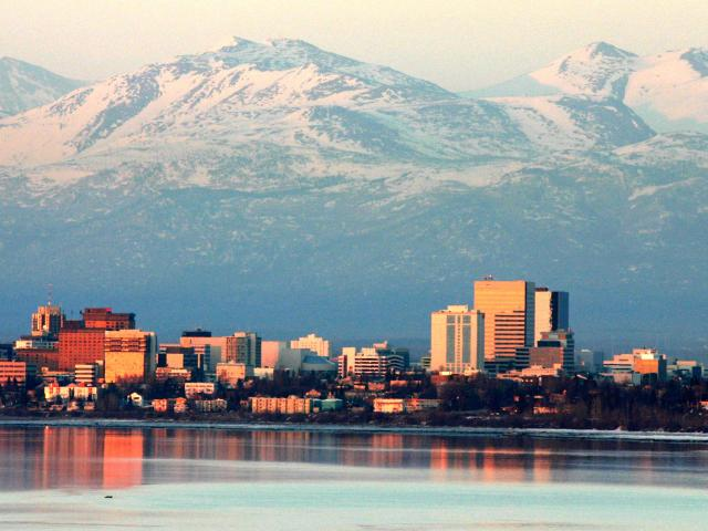 The City of Anchorage, flanked by stunning views of the Chugach Mountain Range