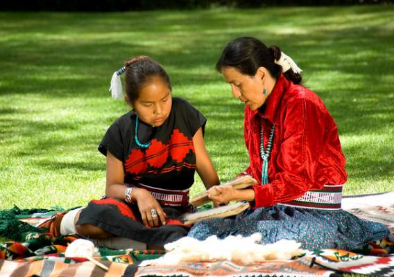 Native American woman and daughter