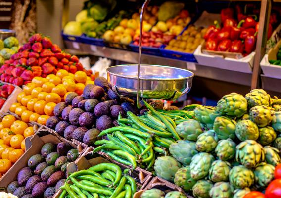Fruits and vegetables in a store