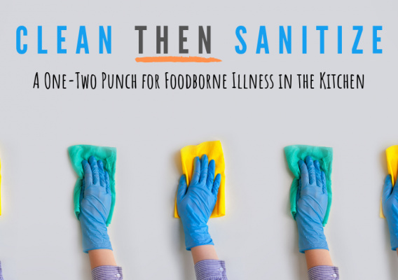5 individual hands with gloves on cleaning a surface clean
