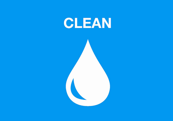 White water droplet on blue background with text that says Clean