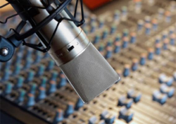 Microphone on radio studio