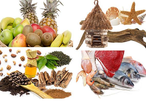 Fruits, spices, seafood and ocean items
