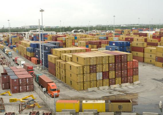 Containers loaded with agricultural cargo for export at a port in Miami, Florida