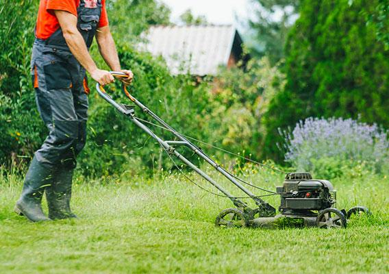 Man using a lawnmower