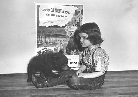 Smokey Bear as a Cub with Judy Bell