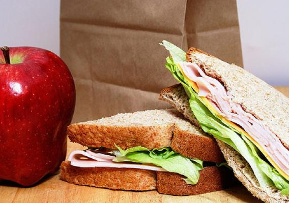 A brown paper bag lunch with a sandwich and apple in front