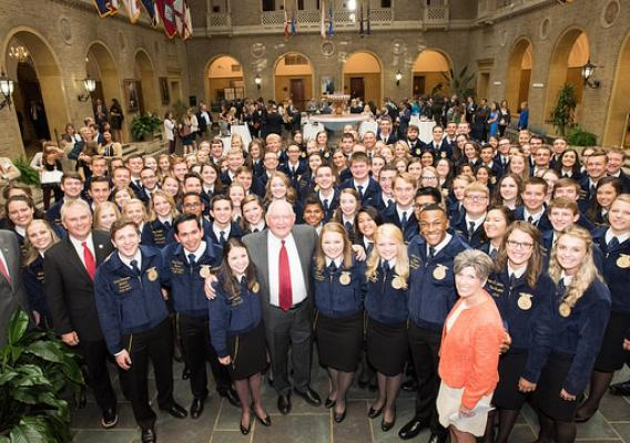 USDA Secretary Sonny Perdue; Senators Joni Ernst and James Comer; and Congressmen Mike Conaway and Frank Lucas and FFA 2017 State Presidents' Conference officers