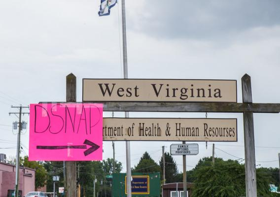 A temporary USDA D-SNAP sign at the West Virginia Department of Health and Human Resources building