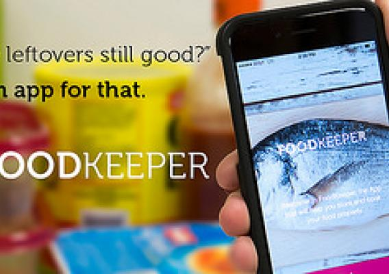 FoodKeeper app beside a refrigerator