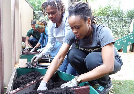 Carmen Young, far right, and Forest Service employees and interns working to plant flowers