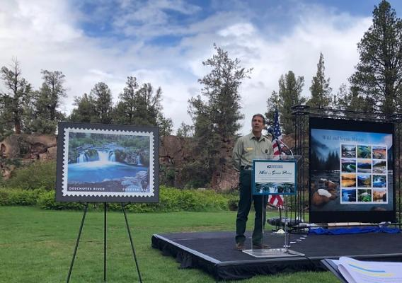 Pacific Northwest Regional Forester Glen Casamassa speaking at the announcement event for the Wild and Scenic River stamp series
