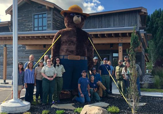 Bridger-Teton National Forest staff celebrating Smokey Bear's 75th