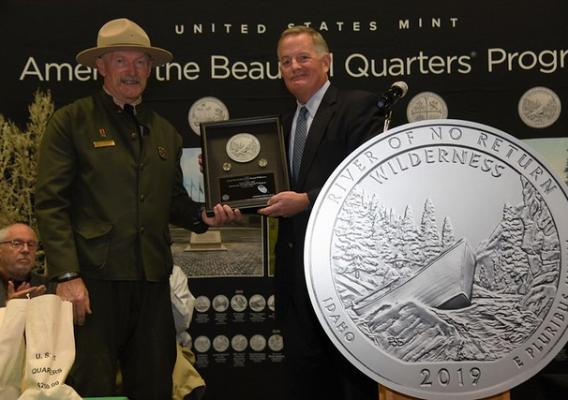 Salmon-Challis National Forest Supervisor Chuck Mark and U.S. Mint Director David J. Ryder at the ceremony celebrating the new quarter