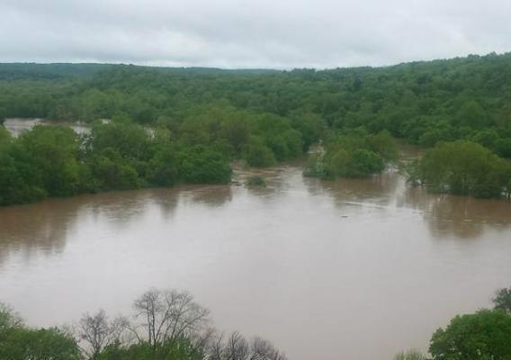 Flood waters cover river bottom ground in Jefferson County, Mo.