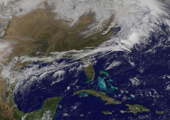 Satellite view of big snowstorm for the Northeastern U.S.