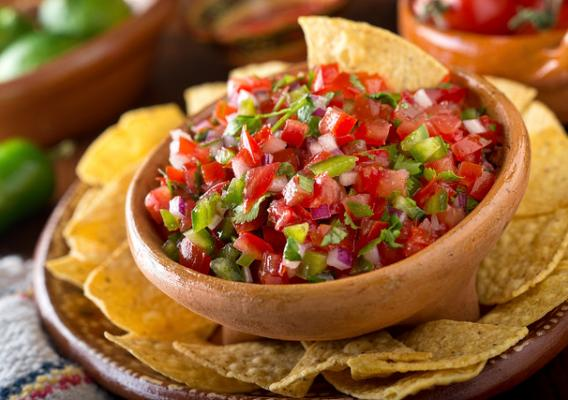 A bowl of salsa