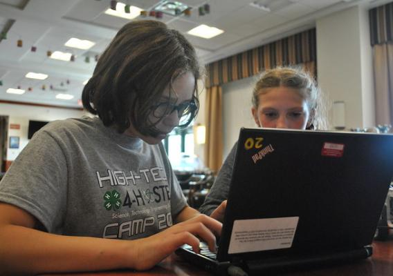 Youth learning about computers at a 2018 Air Force 4-H camp