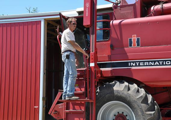 Indiana farmer Ed Bell on his tractor