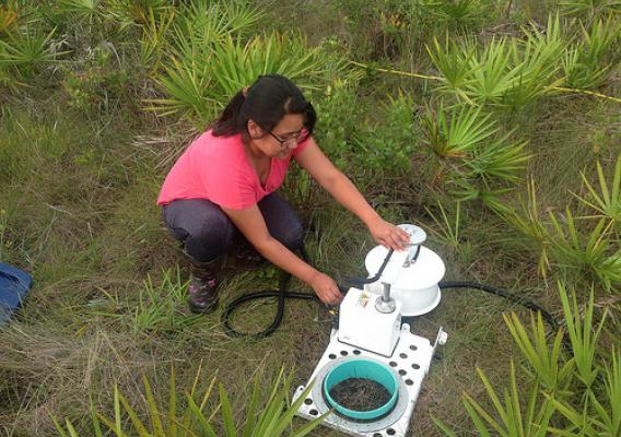 Dipti Rai measuring greenhouse gas flux