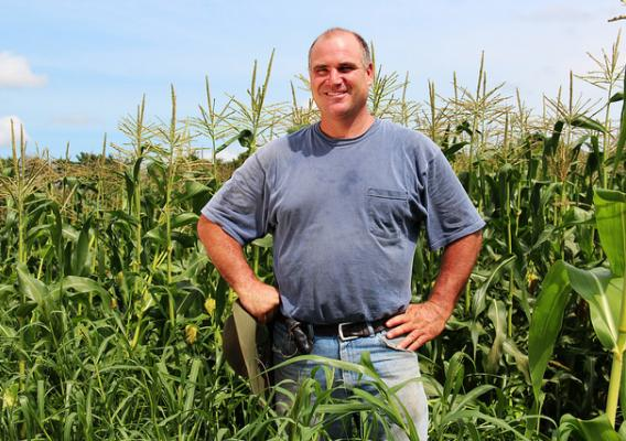 Jim Ward in his no-till sweet corn field