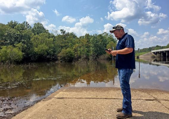 Justin Parks using NRCS Harvey Damage Reporter app