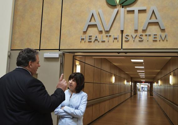 Assistant to the Secretary for Rural Development Anne Hazlett with Jerry Morasko, President and CEO, Avita Health System