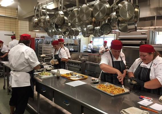 Montana's culinary training participants practicing their new skills