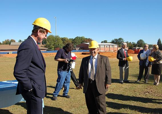 Congressman Bob Etheridge, Deputy Under Secretary Vasquez visit the Middlesex Elementary School Construction site in North Carolina