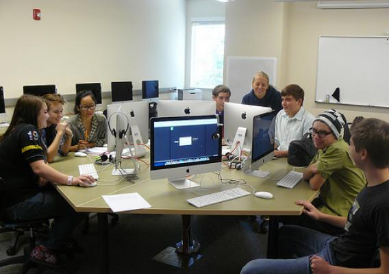 Students in the yearbook class coming together at the school's new resource center in Marysville, Calif
