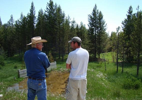 MT Fish, Wildlife and Parks department biologist and a local rancher