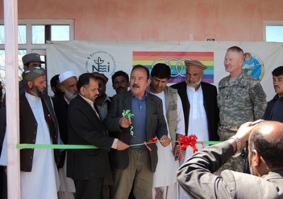 The grand opening of a soybean processing facility in Afghanistan. USDA employees helped farmers establish two soybean cooperatives and supported them in their efforts to grow soybeans and acquire soybean threshing equipment.