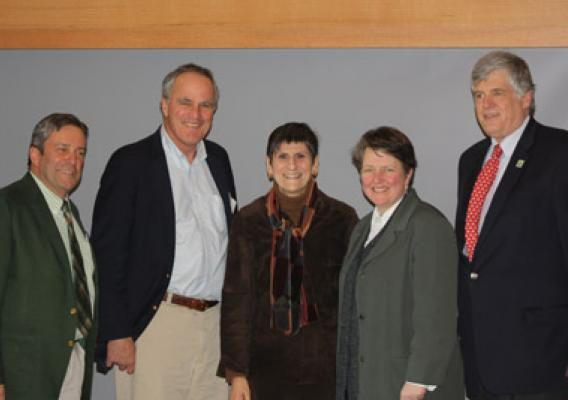 Working Lands Alliance's Tenth Anniversary Conference, held at Yale University. (left to right): Connecticut State Conservationist (NRCS) Doug Zehner; MA/CT/RI Rural Development State Director Jay Healy; Congresswoman Rosa DeLauro, Chairwoman of the Agriculture-FDA Appropriations Subcommittee, Deputy Sec. Merrigan, and Connecticut Ag Commissioner F. Philip Prelli.