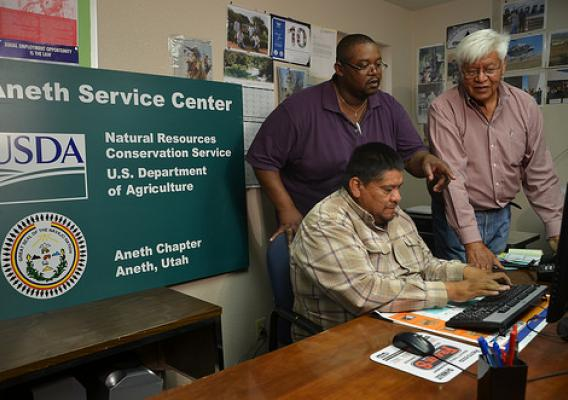 NRCS field staff work closely with Tribal members on education, outreach and implementation of on-the-ground conservation practices. Loren Crank Jr. and Barry Hamilton with NRCS worked with Bill Todachennie, the chapter's vice president, on this project.