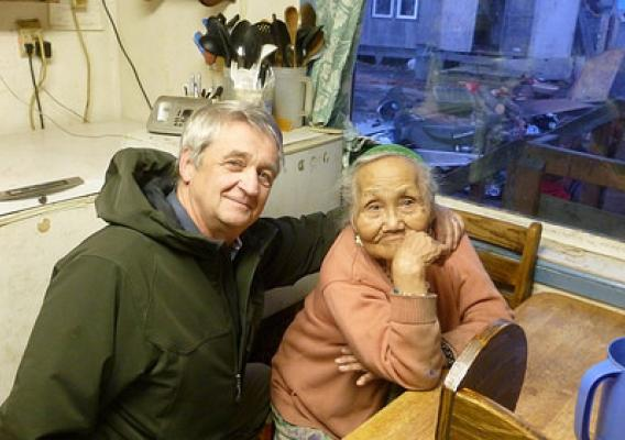 (L – R) Jim Nordlund, State Director – Alaska RD and 90 year old Xenia Nikoli, a resident of the village of Kwethluk. Photo credit: Tasha Deardorff