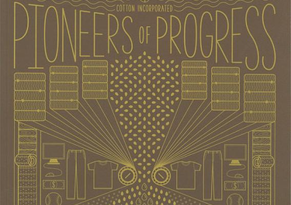 The Pioneers of Progress booklet illustrates how U.S. cotton has increased sustainability over the last 4 decades.  The original cover art was inspired by vintage almanacs, acknowledging the heritage of the U.S. cotton industry. Image courtesy Cotton Inc.