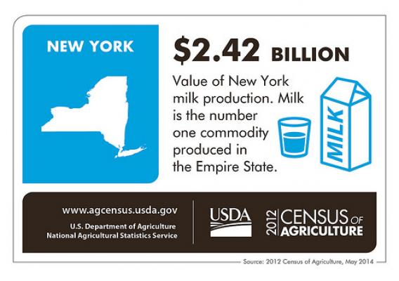 Who knew The Big Apple was surrounded by billions of dollars of milk?  Check back next Thursday for more fun facts from another state and the 2012 Census of Agriculture.