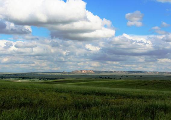 Summer clouds dance over the Miller Hills on the Thunder Basin National Grasslands